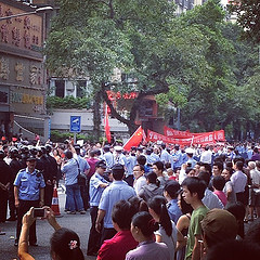 Very large protests in my neighborhood (near the Japanese consulate). Today is the anniversary of the Marco Polo bridge incident of 1937 when the Japanese began their military occupation of China. by citizenoftheworld
