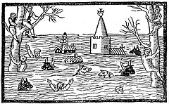 Woodcut of the 1607 flood in the Bristol Channel and Severn Estuary. by ProfSimonHaslett