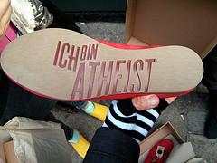 Ich Bin Atheist shoe, Redchurch Street, Hackney, London, UK by gruntzooki
