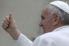 Pope Francis gives a thumbs up by Christus Vincit
