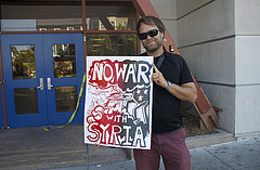 No War with Syria protest outside Nancy Pelosi Town Hall by Steve Rhodes