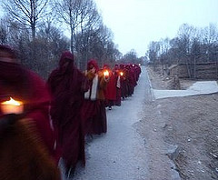 Lutsang Monks Protest in Magra, Amdo Tibet, by SFTHQ