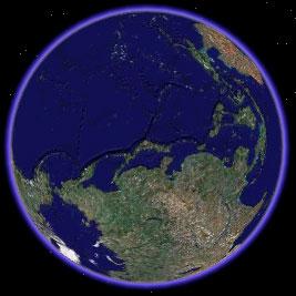 北を8時の方角にとった地球