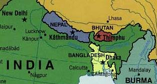 ネパールとその周辺の地図