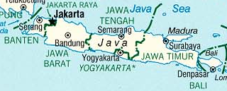 Map of Java, Indonesia
