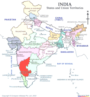 Karnataka, India map