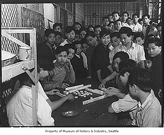 Chinese boys playing mah jong at Immigration Station, Seattle, 1938 by IMLS DCC