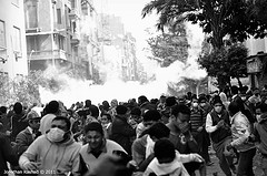 CSF teargassing Mohamed Mahmoud st. by Jonathan Rashad