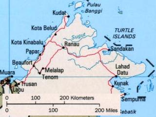 ボルネオ島北部の地図
