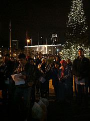 Reading names of homeless who have died 21st winter solstice memorial by Steve Rhodes