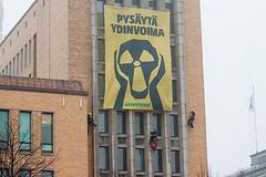 6.4.2011 Helsinki, Finland. Ei ydinvoimalle eduskuntavaaleissa by Greenpeace Finland